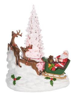 LIGHT UP SANTA SCENE FIGURINE