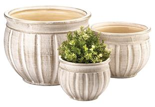 ANTIQUE STONE PLANTER TRIO-1